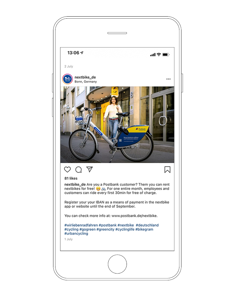 nextbike Instagram Post zur Postbank-Kampagne
