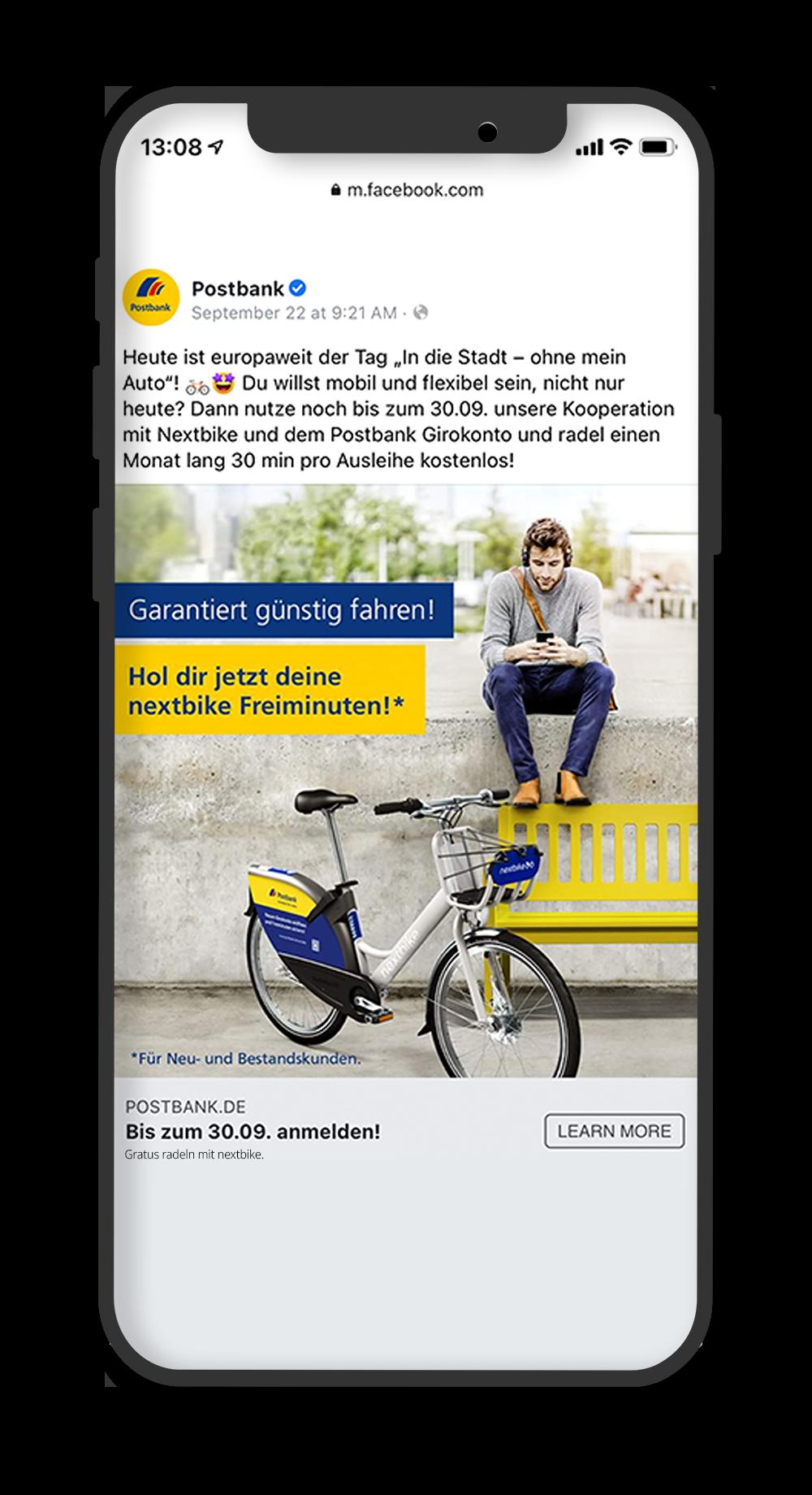 Postbank Facebook Post über die nextbike KooperationPostbank Facebook Post über die nextbike Kooperation