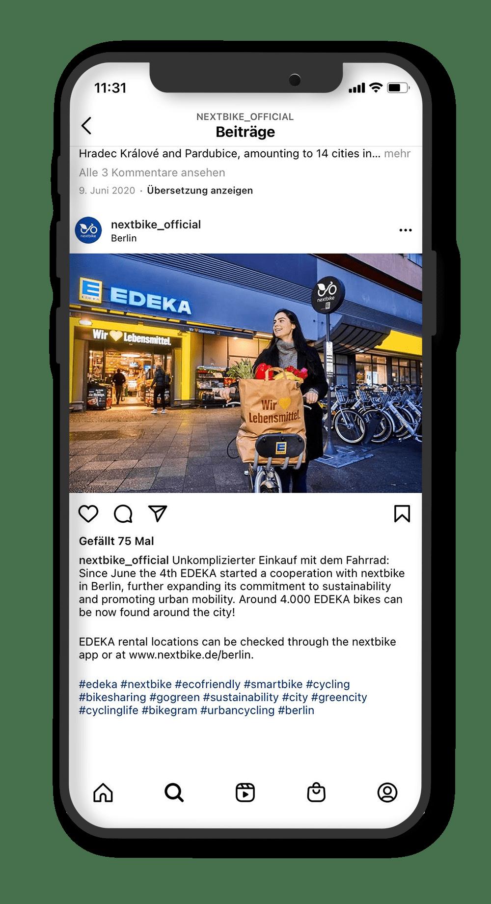 instagram post zum start der EDEKA nextbike Zusammenarbeit