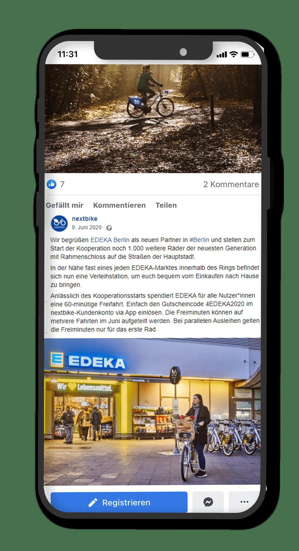 nextbike facebook post über die Zusammenarbeit mit EDEKA