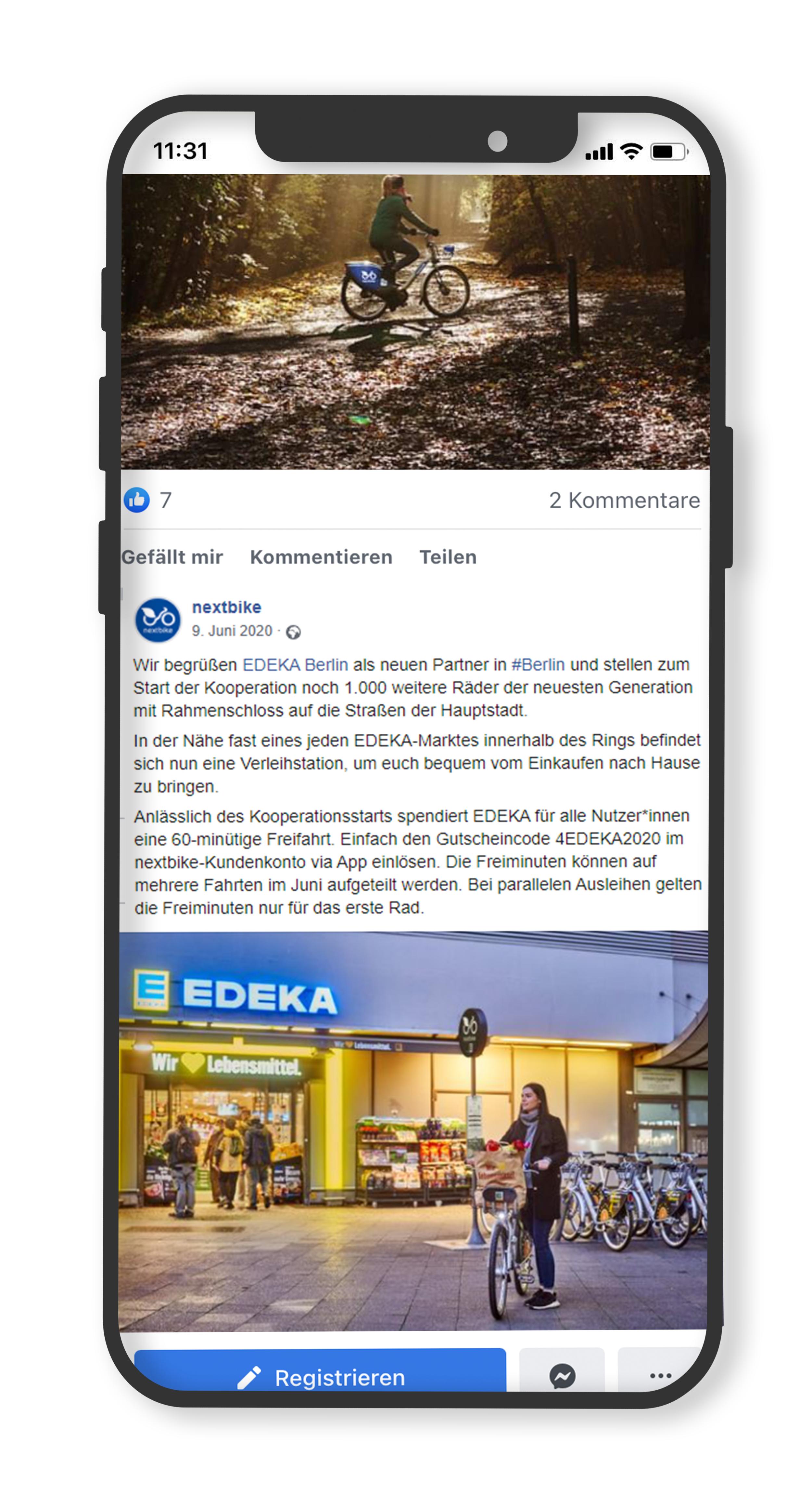 Postbank Facebook Post über die nextbike Kooperation